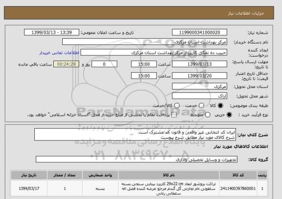 استعلام ایران کد انتخابی غیر واقعی و قانون کد مشترک است شرح کالای مورد نیاز مطابق شرح پیوست؟